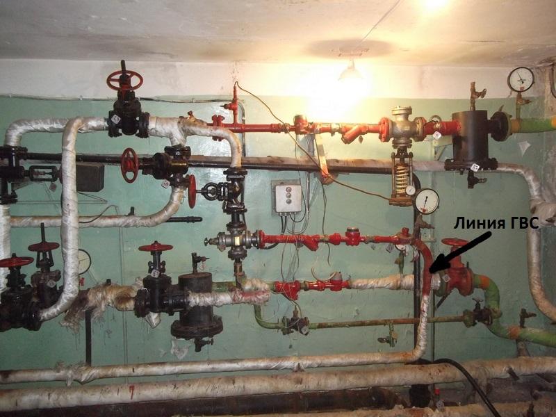Разводящий трубопровод на ГВС в ИТП