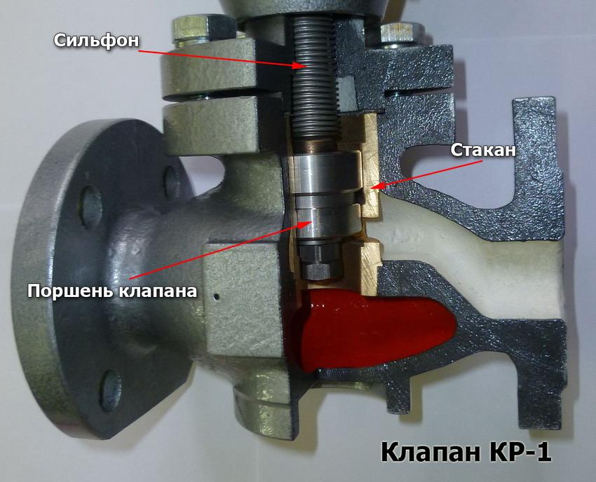 Регулирующий клапан КР-1 в разрезе