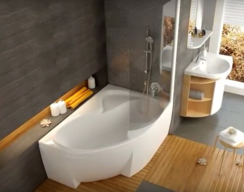 Асимметричная акриловая ванна